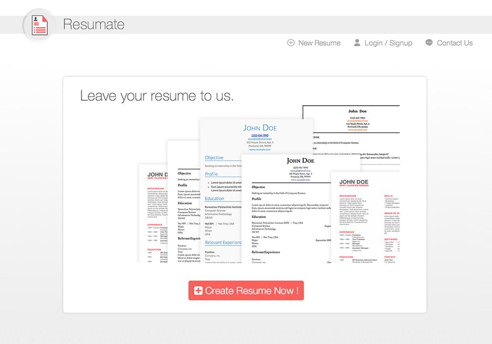 Homepage  Resumate