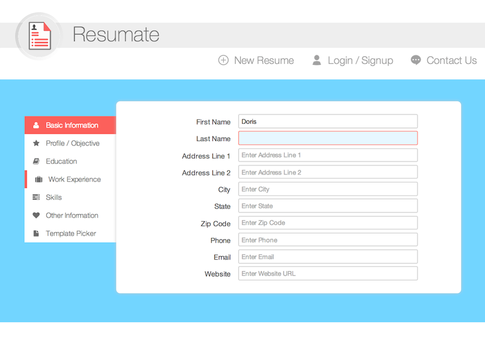 Create New Resume   Form  Resumate